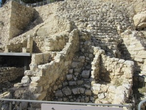 Foundations of the burnt room, a house in the wall of the city of Jerusalem during David's time, destroyed in 586 BC by the Babylonians.